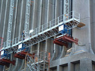 Custom Red Single Lifting Mast Climbing Work Platform For Building Cleaning Maintenance