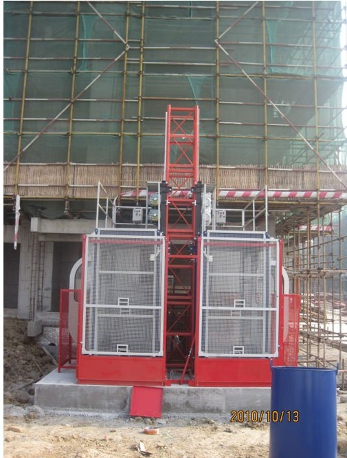 Twin Cage Construction Lifts / Hoist Elevator High Speed for Building